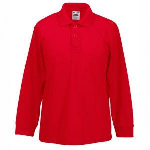ID133 Детска тениска поло тип  лакоста с дълъг ръкав KIDS 65-35 LONG SLEEVE POLO - 63201 35% памук, 65% полиестер 180гр