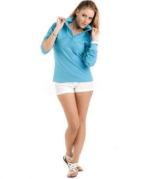Дамски поло тениски с дълъг ръкав  ESTRELLA WOMAN LONG-SLEEVE - PO6636 100% памук 220гр.