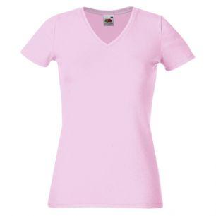 ID368 Дамска вталена тениска  LADY-FIT V-NECK T - 61382 95% памук  5% ликра 215гр.