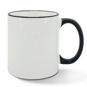 Чаша, керамична, бяла с Черен кант и печат по снимка