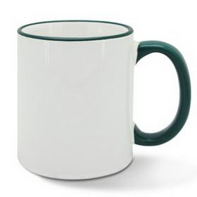 Чаша, керамична, бяла със Тъмно зелен кант и печат по снимка