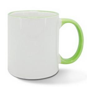 Чаша, керамична, бяла със Светло зелен кант и печат по снимка