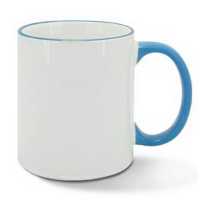 Чаша, керамична, бяла със Светло син кант и печат по снимка
