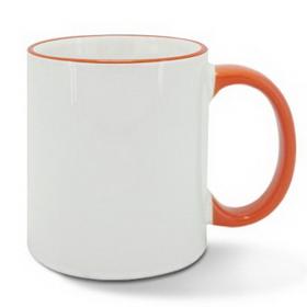 Чаша, керамична, бяла с Оранжев кант и печат по снимка