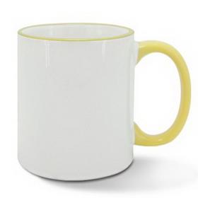 Чаша, керамична, бяла с Жълт кант и печат по снимка
