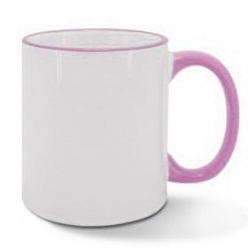 Чаша, керамична, бяла с Розов кант и печат по снимка