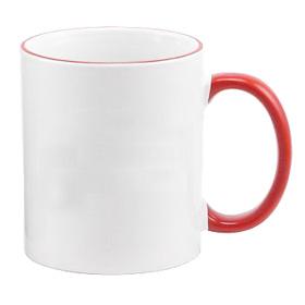 Чаша, керамична, бяла с Червен кант и печат по снимка