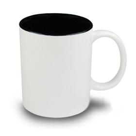 Чаша, керамична, бяла с Черна вътрешност и печат по снимка
