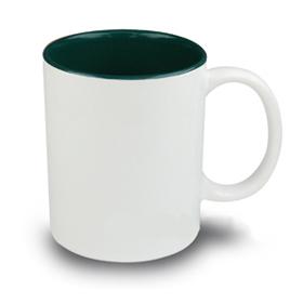 Чаша, керамична, бяла с Тъмно зелена вътрешност и печат по снимка