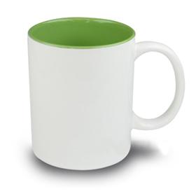 Чаша, керамична, бяла със Светло зелена вътрешност и печат по снимка