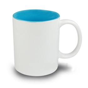 Чаша, керамична, бяла със Светло синя вътрешност и печат по снимка