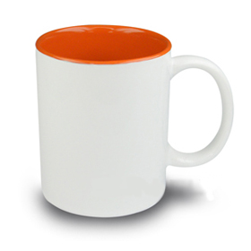Чаша, керамична, бяла с Оранжева вътрешност и печат по снимка