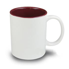 Чаша, керамична, бяла с Бордо вътрешност и печат по снимка