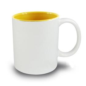 Чаша, керамична, бяла с Жълта вътрешност и печат по снимка