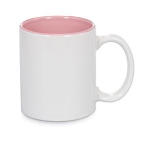 Чаша, керамична, бяла с Розова вътрешност и печат по снимка