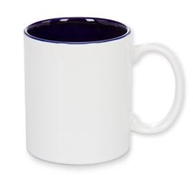 Чаша, керамична, бяла с Тъмно синя вътрешност и печат по снимка