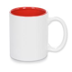 Чаша, керамична, бяла с Червена вътрешност и печат по снимка