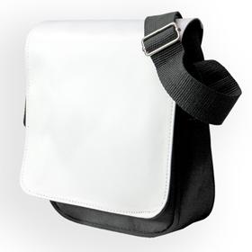 Чанта за рамо Черна с бял капак за печат 22х18см