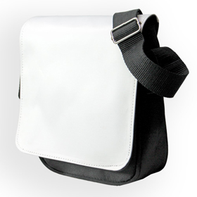 Чанта за рамо Черна с бял капак за печат 28х32см