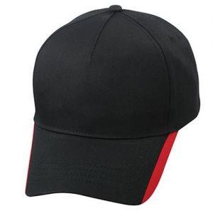 ID218 Пет панелна шапка с две контрастни линии по ръба 100% памук